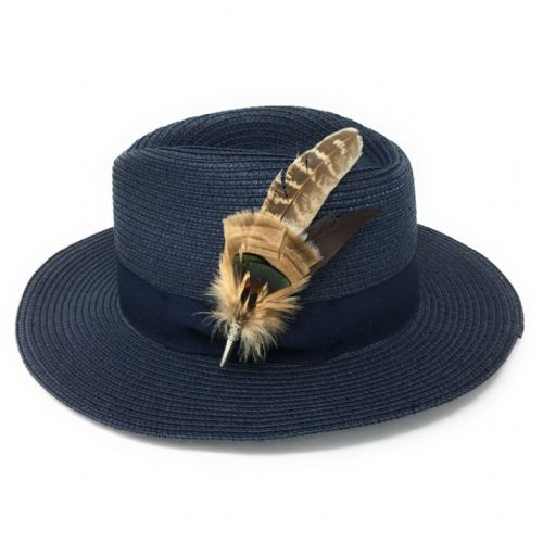 Ladies Panama Style Summer Hat with Removable Feather Brooch - Navy -  Dovecote e744f03f091